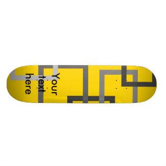 Retro gray squares on yellow skate decks
