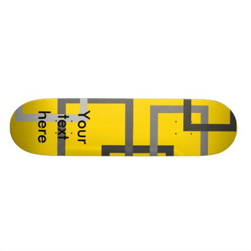 Retro gray squares on yellow skate board decks