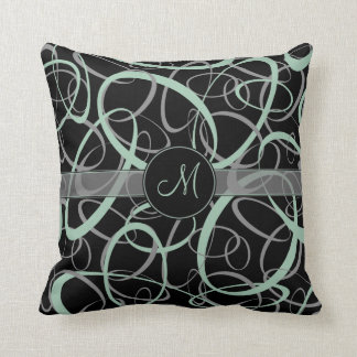 retro grayed jade and gray rings on black monogram throw pillow