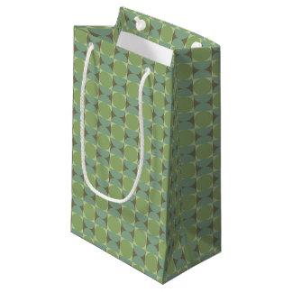 Retro Green 70s Pattern Small Gift Bag