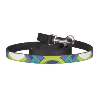 Retro green and blue circles pet lead