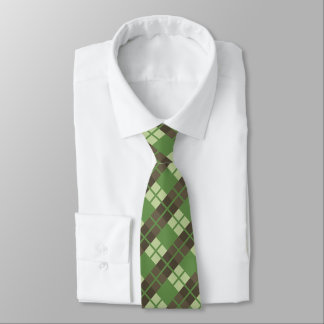 Retro Green and Brown Plaid Pattern Tie