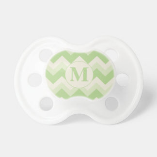 Retro Green and Cream Chevron Monogrammed Pacifier