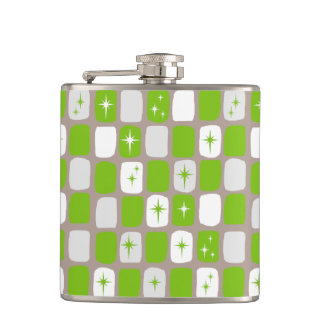 Retro Green and White Starbursts Flask