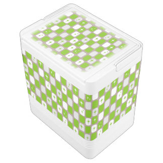 Retro Green and White Starbursts Igloo Can Cooler