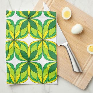 Retro Green and Yellow Design Towel