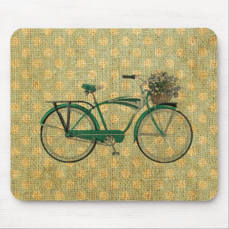 Retro Green Bike with Flower Basket Mouse Pad