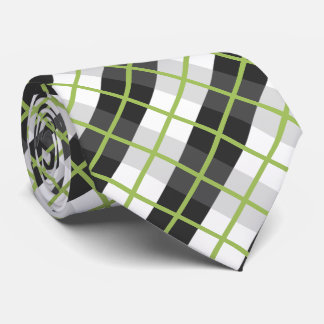 Retro Green Black and White Plaid Pattern Tie