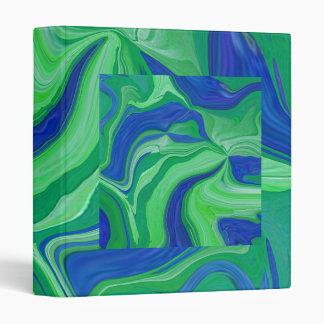 Retro green & blue abstract art notebook binder