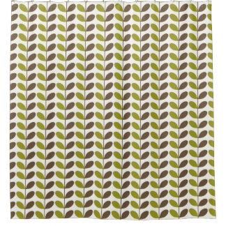 Retro Green Brown Leaf Pattern