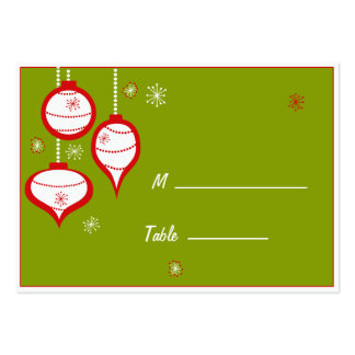 Retro Green Christmas Placecards Large Business Card