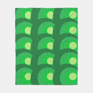 Retro Green Circles Fleece Blanket