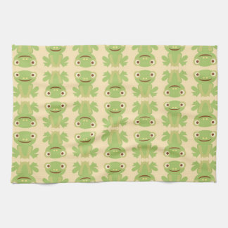 Retro Green Frog Pattern Kitchen Towel