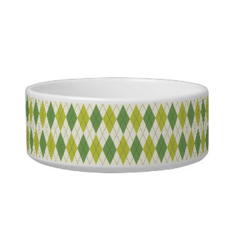 Retro Green Geometric Argyle Pattern Bowl