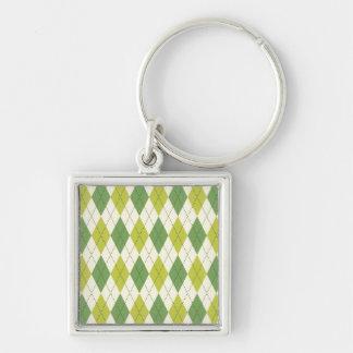 Retro Green Geometric Argyle Pattern Keychain