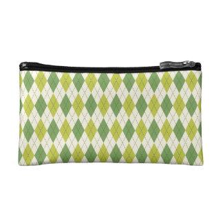 Retro Green Geometric Argyle Pattern Makeup Bag