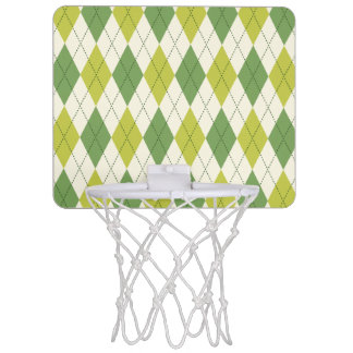 Retro Green Geometric Argyle Pattern Mini Basketball Hoop