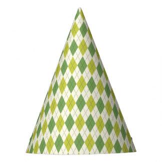 Retro Green Geometric Argyle Pattern Party Hat