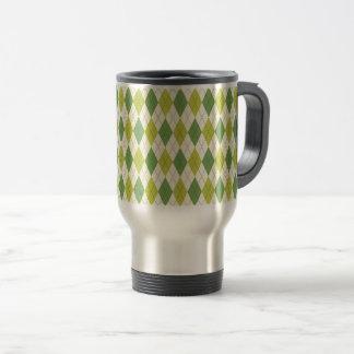 Retro Green Geometric Argyle Pattern Travel Mug