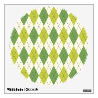 Retro Green Geometric Argyle Pattern Wall Decal