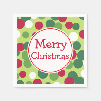 Retro Green Merry Christmas Party Napkins Disposable Napkins