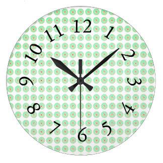 Retro-Green-Mod-Floral-Accent-Clocks Large Clock