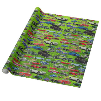 Retro Green Old Auto Vintage Wrapping Paper