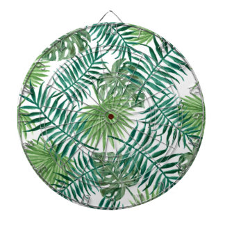 Retro Green Palm Leaves Style Pattern Design Dartboard