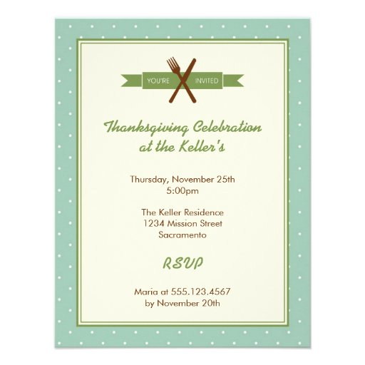 Retro green polka dots frame hostess dinner party announcement