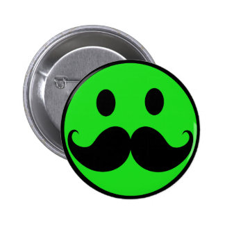 Retro Green Smiley Mustache Moustache Stache 2 Inch Round Button