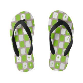 Retro Green Starbursts Kids Flip Flops