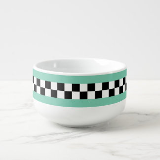 retro green striped checkers soup mug