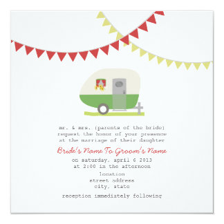 Retro Green Trailer Wedding Invite