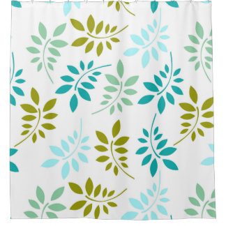 Retro Green Turquoise Leaf Pattern