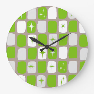 Retro Green & White Starbursts Wall Clock