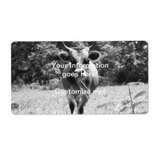 Retro Grey Bull Photo Shipping Label
