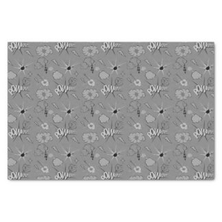 Retro Grey Comic Book Pattern Tissue Paper