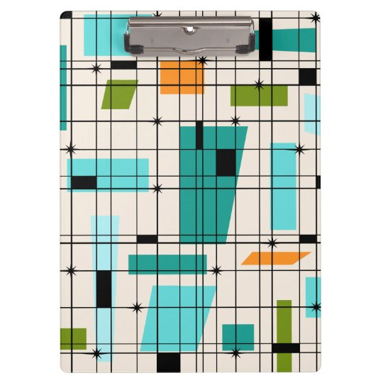 Retro Grid & Starbursts Clipboard