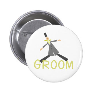 Retro Groom in Tuxedo 2 Inch Round Button