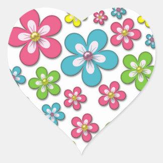 Retro Groovy Flowers Floral Pattern Heart Sticker