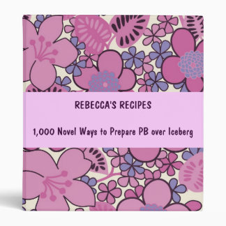Retro Groovy Pink Floral Recipe Binder ~ Customize