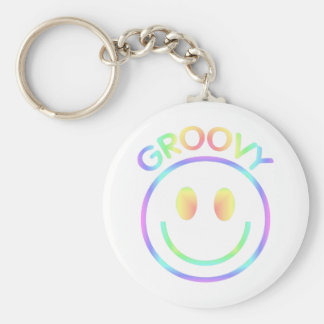 Retro Groovy Rainbow Smiley Keychain for Hippies