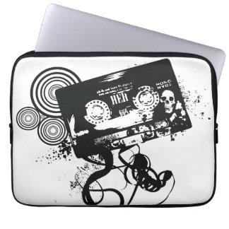 Retro Grunge Audio Tape & Skull Laptop Sleeve