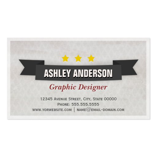 Retro Grunge Black and White Business Cards