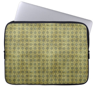 Retro Grunge Green Diamond Pattern Laptop Sleeve