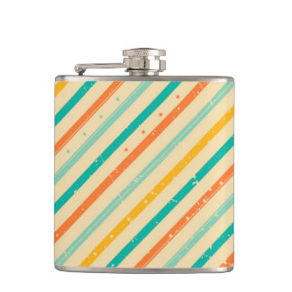 Retro grunge striped pattern hip flask