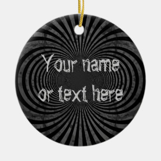 Retro grungy stripes ceramic ornament