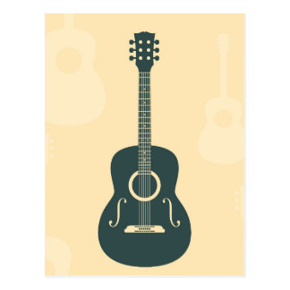 Retro guitar acoustic music postcard