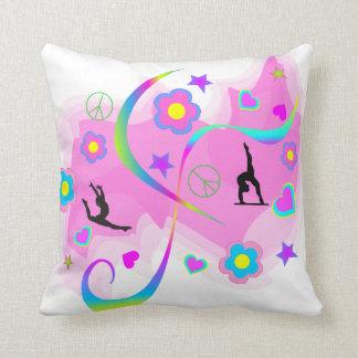 Retro Gymnastics Throw Pillow