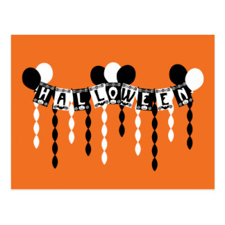 Retro Halloween Party Streamers Postcard